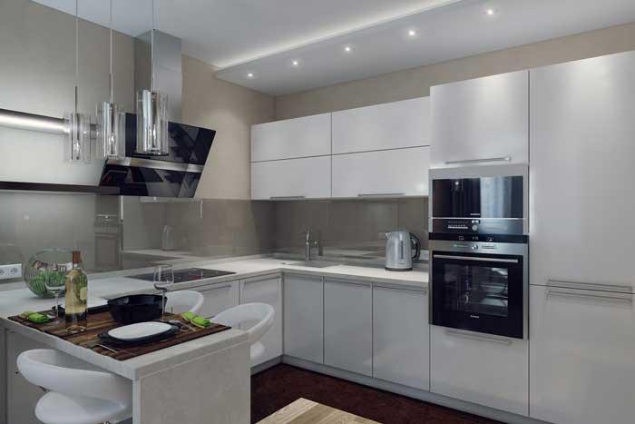 Интерьер кухни, совмещенной с гостиной — фото проекта