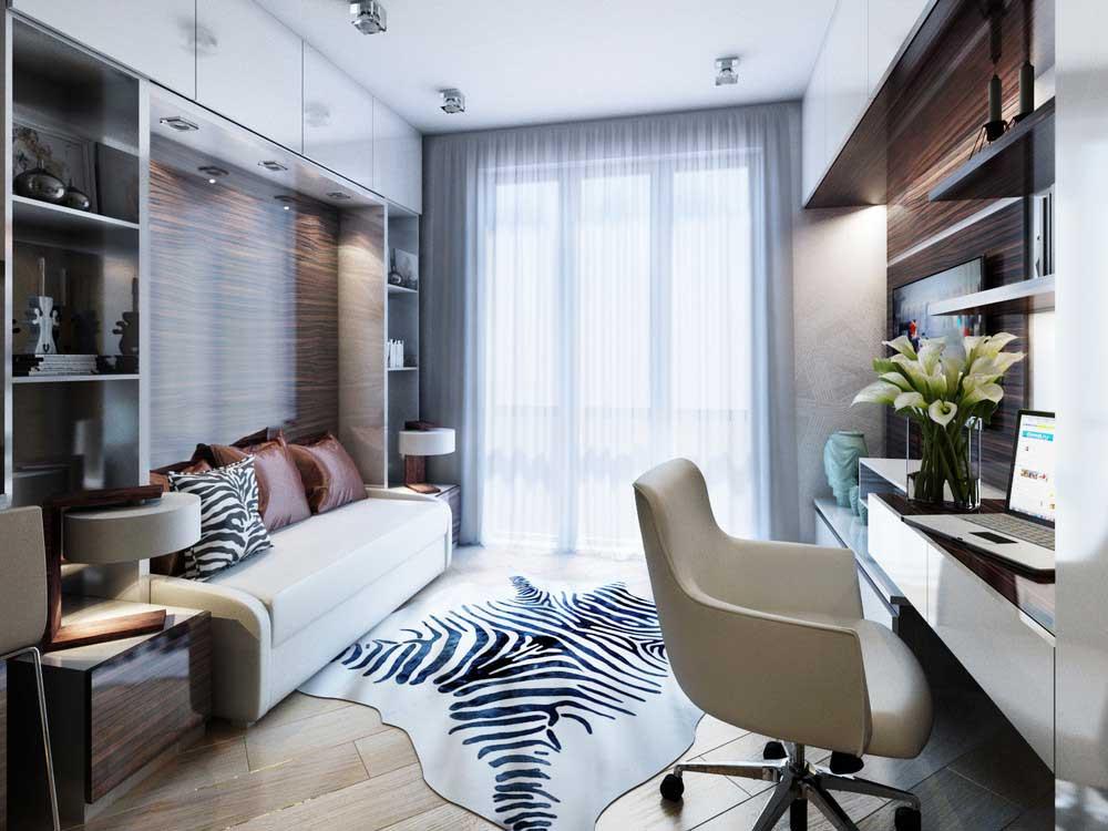 Современный дизайн студии 20 кв.м. фото проекта