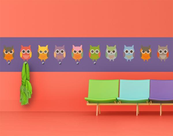 Интерьерные наклейки на стену с крючками для одежды