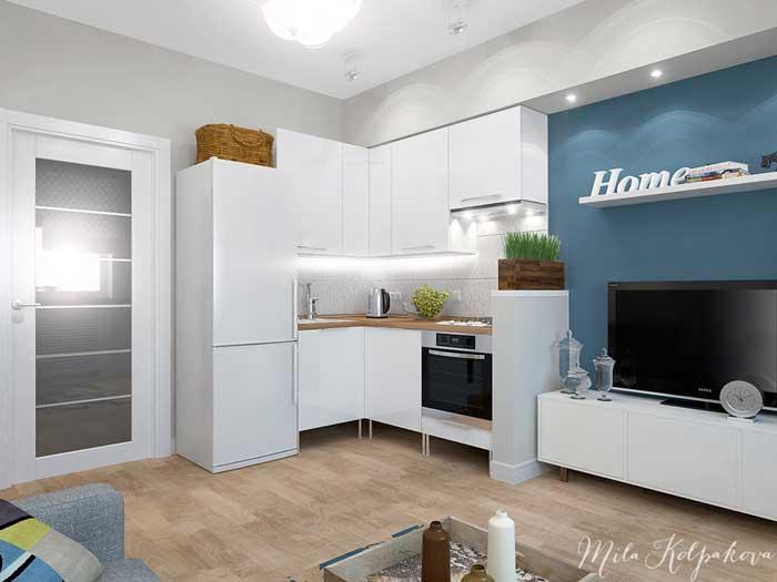 Светлый дизайн интерьера двухкомнатной квартиры с совмещенной гостиной и кухней