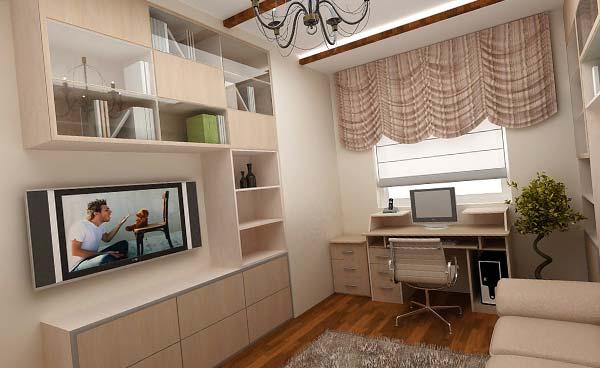 Кабинет и гостиная в одной комнате