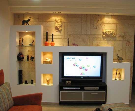 Ниша под телевизор из гипсокартона: создаем мебель для зала из универсального материала