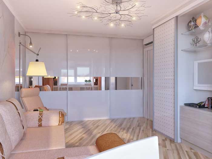 Дизайн интерьера гостиной комнаты в светлых тонах 16-18 кв. м.