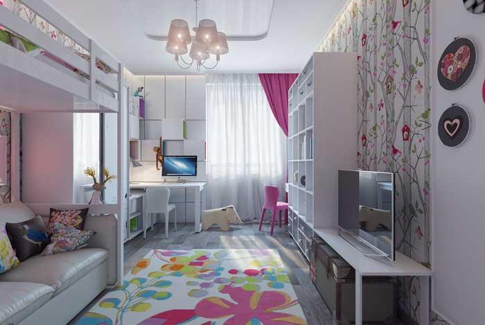 Дизайн детской комнаты для двух сестер с двухъярусной кроватью
