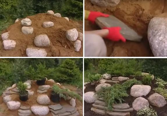 Альпийская горка на садовом участке: пошаговое фото и видео