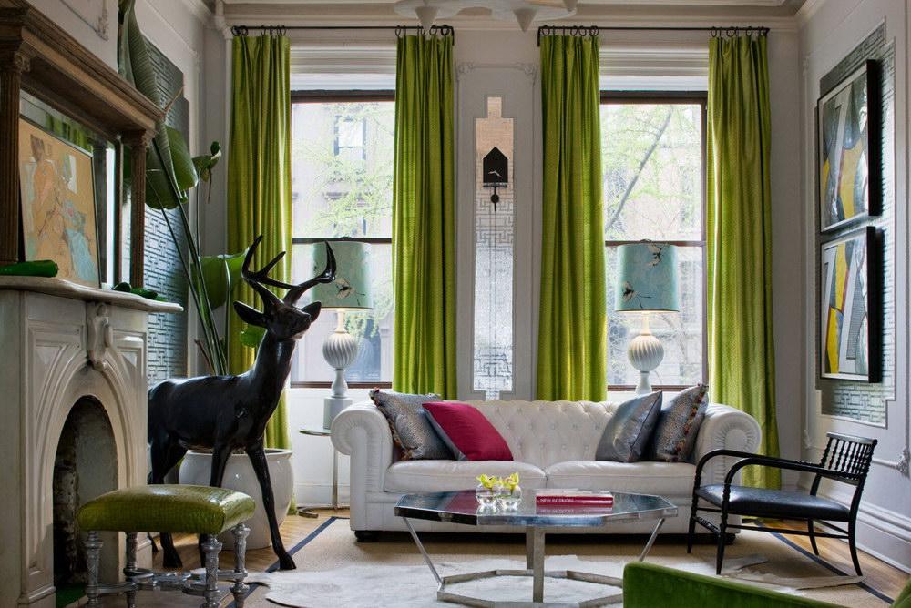 Зеленые шторы в интерьере - 40 фото