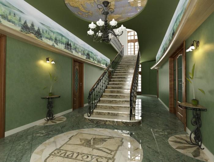 Интерьер гостиной с лестницей на второй этаж
