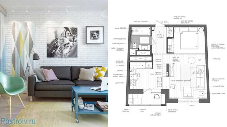 Скандинавский стиль в однокомнатной квартире 45 кв.м. за минимальный бюджет в москве