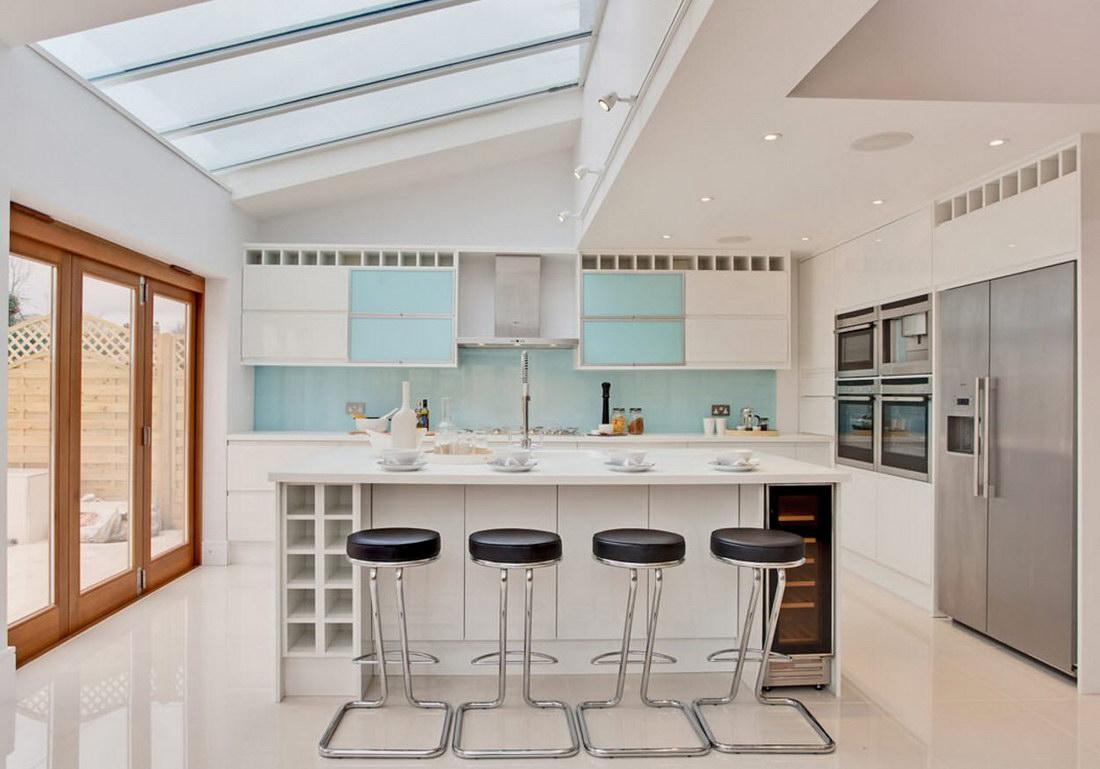 Кухня в голубых тонах - 80 примеров интерьера фото