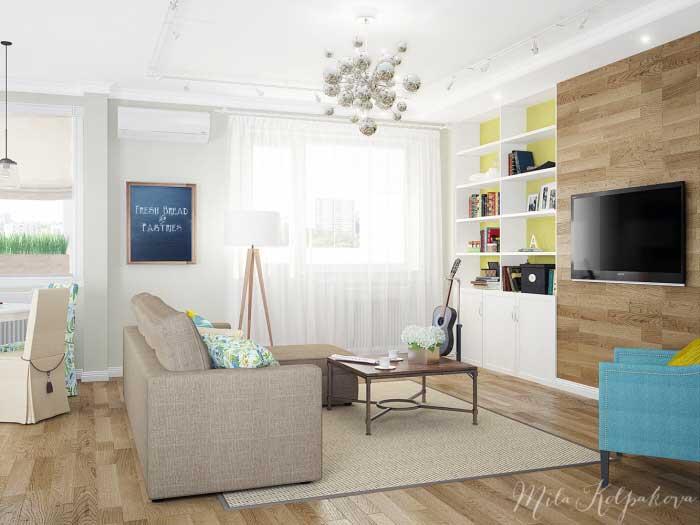 Бюджетный вариант оформления гостиной, совмещенной с кухней и декоративным камином