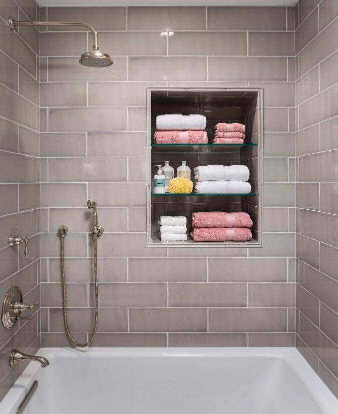 Какие выбрать полки и полочки в ванную комнату - современные варианты фото в интерьере