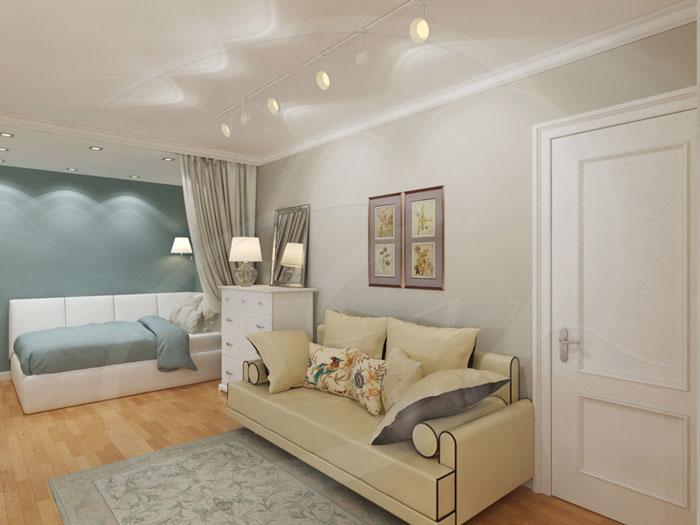 Совмещение гостиной, кухни и лоджии в двухкомнатной квартире