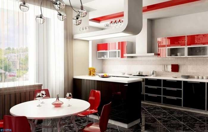 Черно-красная кухня в интерьере — фото. с какими цветами сочетается черно-красная кухня
