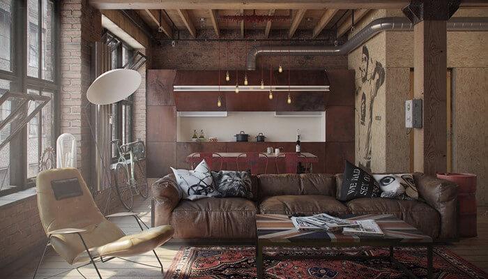 Интерьер гостиной в стиле лофт: уютная брутальность