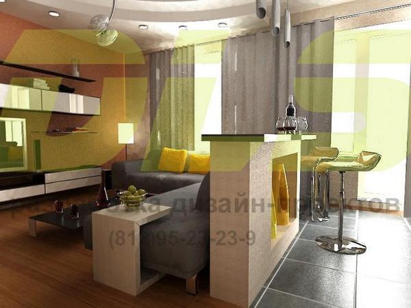 Квартира — студия 30-35 кв. м., с декоративной кирпичной кладкой и барной стойкой