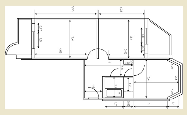 Планировка двухкомнатной квартиры п44т с размерами