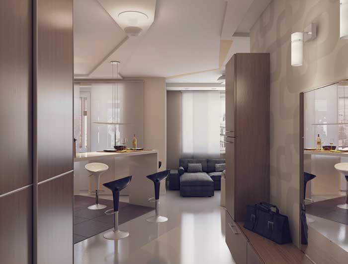 Квартира студия с использованием зонирования комнаты на спальню и гостиную