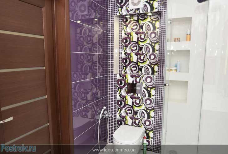 Сиреневый цвет в интерьере ванной комнаты, совмещенной с туалетом 5 — 6 кв. м.
