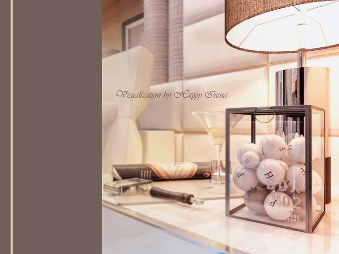 Современная спальня с кабинетом. подиум и стеклянный пол