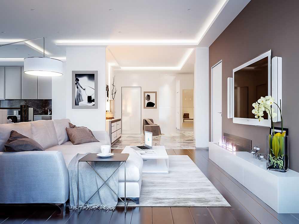 Дизайн гостиной-студии в цвете кофе с молоком. фото проекта
