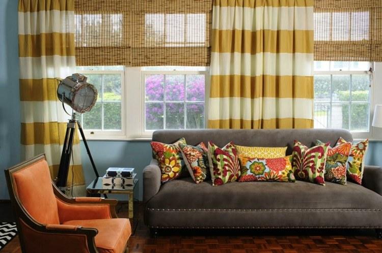 Бамбуковые римские шторы в интерьере: 28 фото