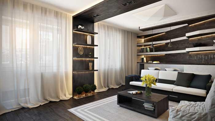 Дизайн интерьера гостиной-кухни в современном стиле с барной стойкой
