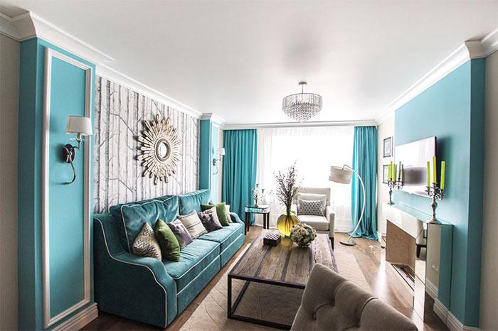 Бирюзовый цвет в интерьере гостиной: фото, отзывы