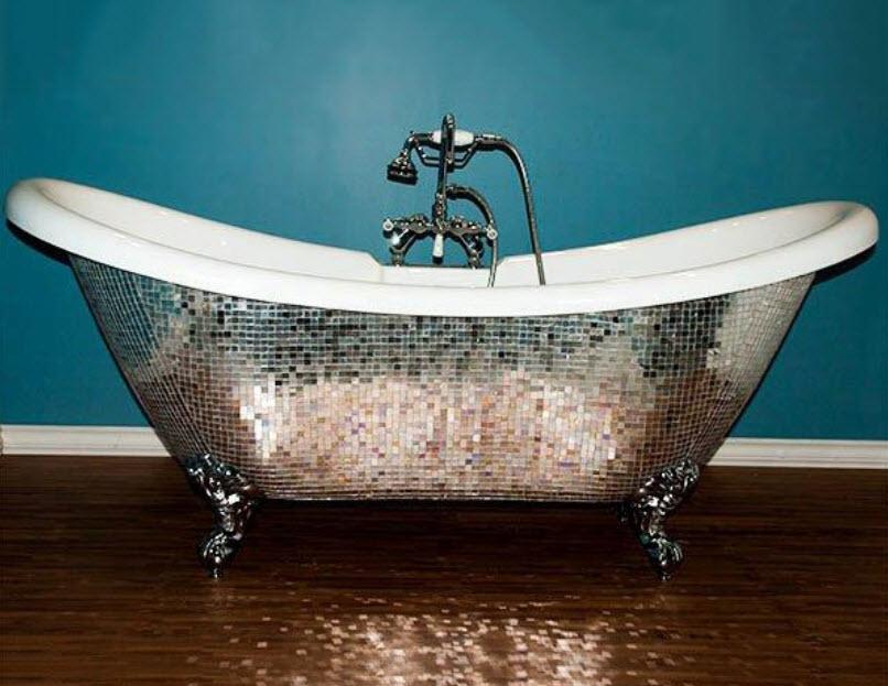 Зеркальная ванна для гламурного интерьера? фото в интерьере