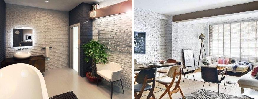 Белая кирпичная стена в интерьере. фото