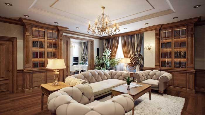 Дизайн гостиной с белым камином, и кожаным стеганным диваном молочного цвета