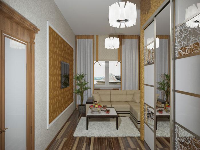 Маленькая гостиная в хрущевке с угловым диваном — дизайн интерьера