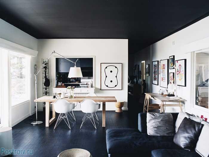 Черный потолок в интерьере. как не допустить ошибок. фото примеров