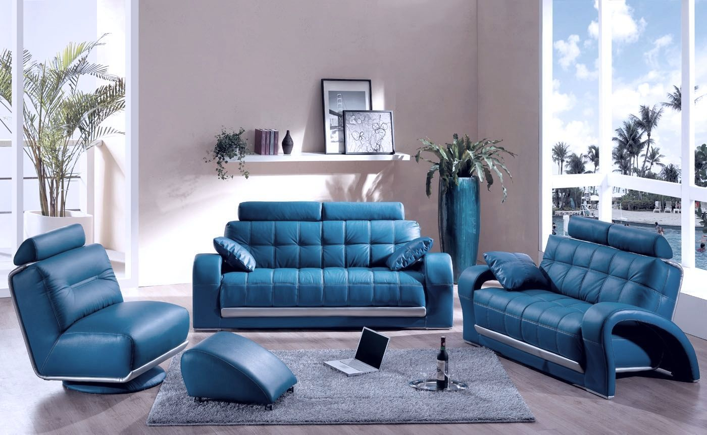 Голубой и синий цвет в интерьере гостиной