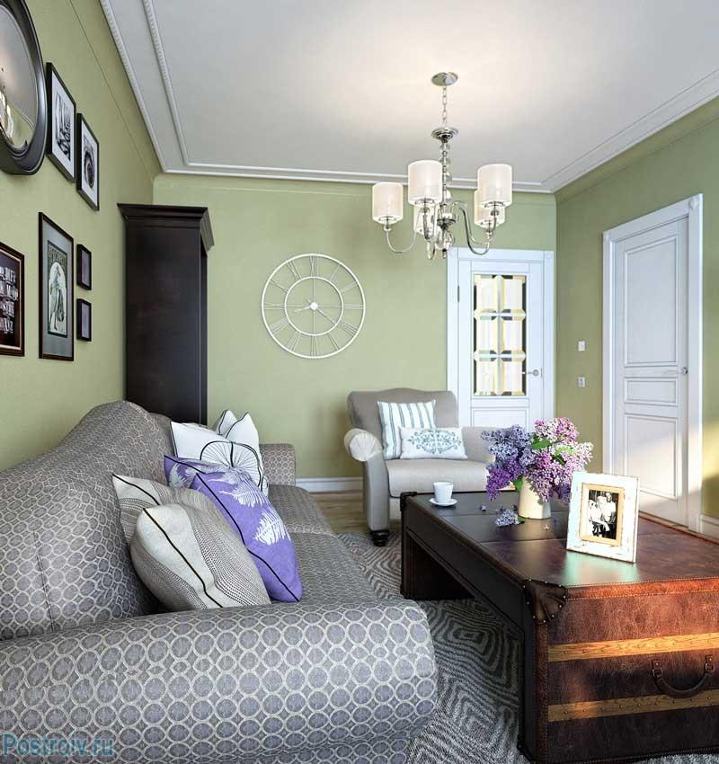 Оливковая гостиная в стиле неоклассика. фото проекта