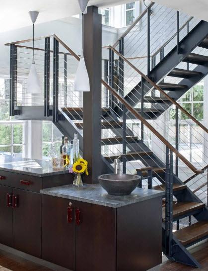 Красивые лестницы с поворотом 50 фото