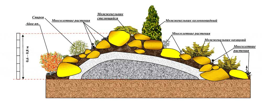 Альпийская горка на даче своими руками с камнями. фото