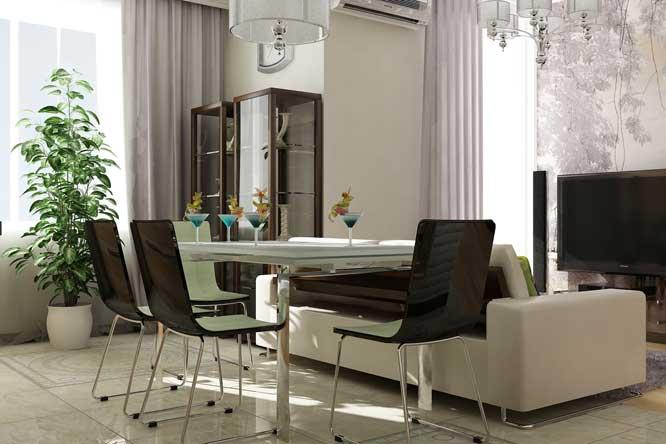 Современный дизайн квартиры с кухней-гостиной и кабинетом с высокими потолками