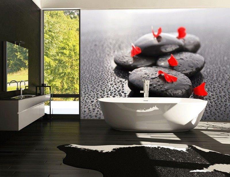 Красивая идея дизайна маленькой ванной комнаты — фотообои