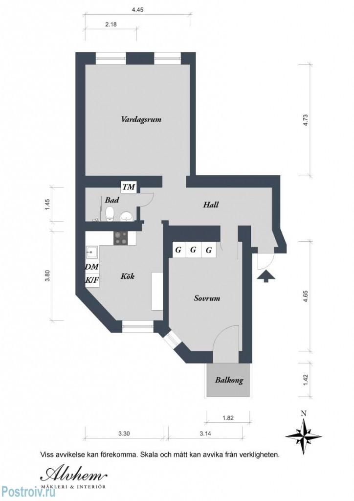 Прохлада и легкость с минимальными затратами. 2-х комнатная квартира в скандинавском стиле