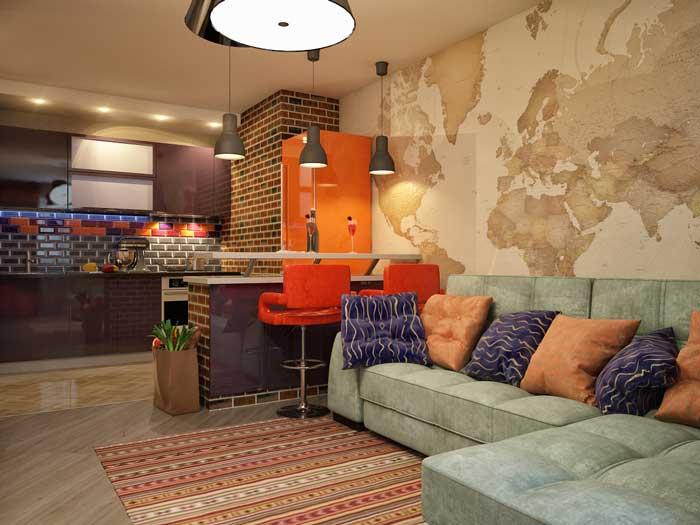 Дизайн однокомнатной квартиры студии с объединенной кухней и гостиной.