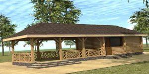 Баня с беседкой и барбекю под одной крышей. проекты