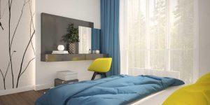 Новинки дизайна спальни 9 кв. м. фото трех проектов