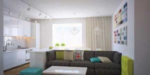 Скандинавский стиль гостиной кухни. бюджетный вариант дизайна интерьера гостиной