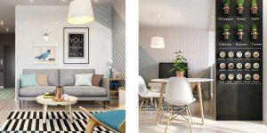 Дизайн квартиры студии в скандинавском стиле 40 кв. м.