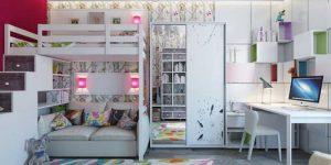 Интерьер детской с двухъярусной кроватью (25 фото), для мальчиков, для девочек, мебель в детскую